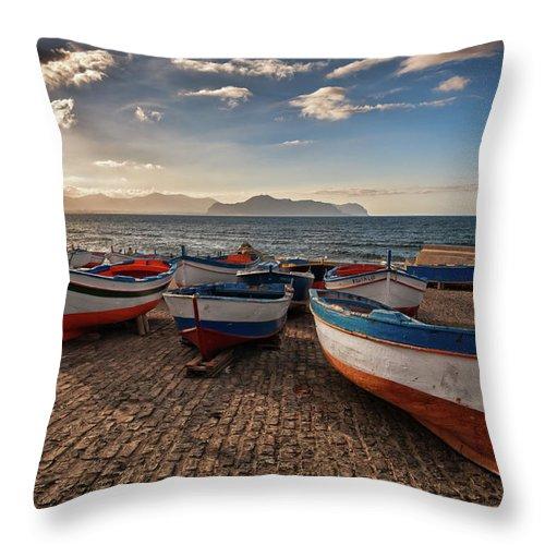 Sicily Throw Pillow featuring the photograph Aspra Boatyard by Fabio Montalto
