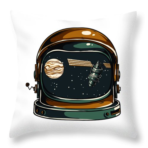 Spaceman Throw Pillow featuring the digital art Astronaut by Passion Loft