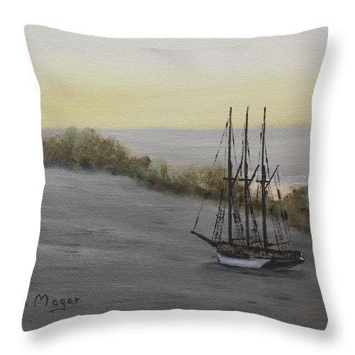 Painting Throw Pillow featuring the painting At Rest by Alan Mager