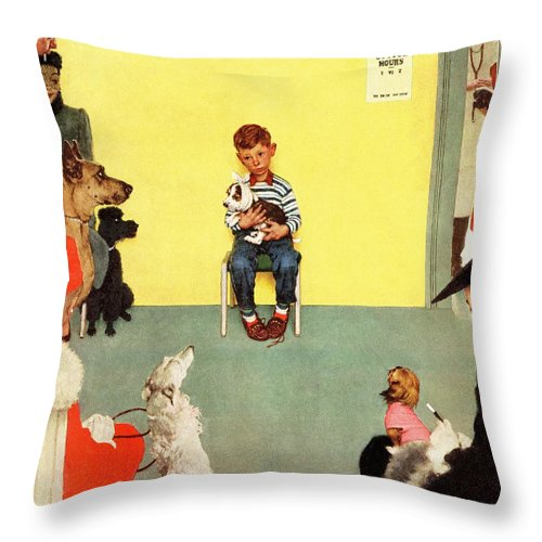 Boy Throw Pillow featuring the drawing At The Vets by Norman Rockwell