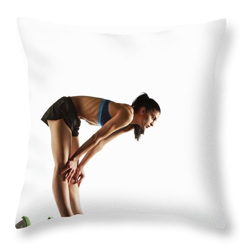 People Throw Pillow featuring the photograph Athlete Resting At Starting Block by Moof