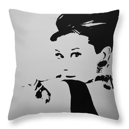 Audrey Hepburn Throw Pillow featuring the photograph Audrey B W by Rob Hans
