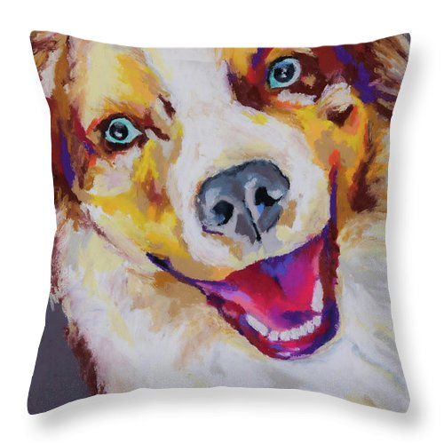 Australian Shepard Throw Pillow featuring the painting Aussie by Stephen Anderson
