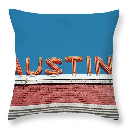 Sunlight Throw Pillow featuring the photograph Austin Neon Sign by Austinartist