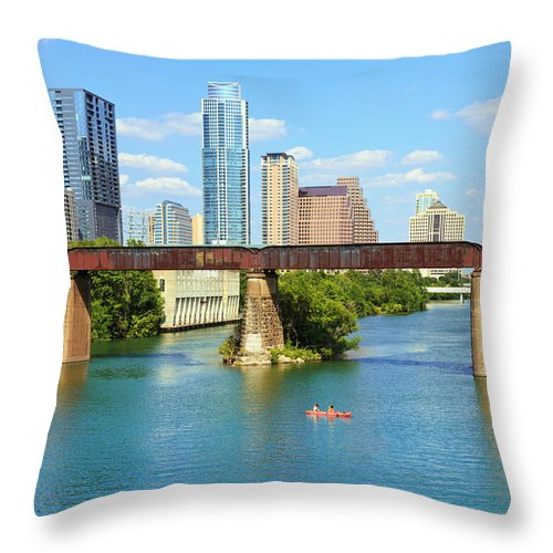 Scenics Throw Pillow featuring the photograph Austin Texas Skyline, Colorado River by Dszc