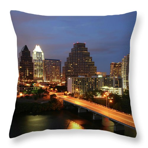 Water's Edge Throw Pillow featuring the photograph Austin Texas Skyline - Unique by Xjben