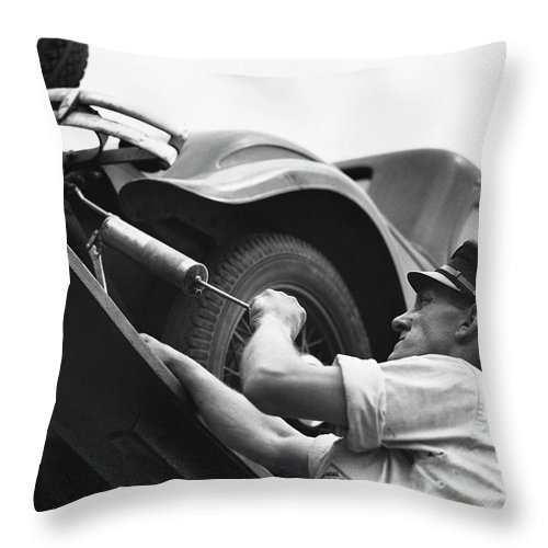 Working Throw Pillow featuring the photograph Auto Mechanic Vintage by George Marks