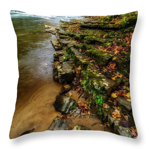 Cherry Falls Throw Pillow featuring the photograph Autumn At Cherry Falls Elk River by Thomas R Fletcher