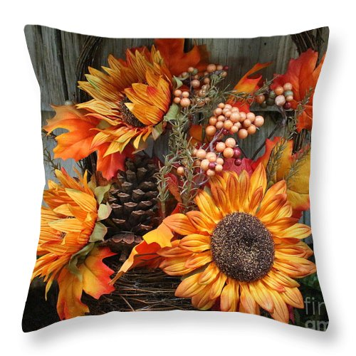 Sunflower Throw Pillow featuring the photograph Autumn Bouquet by Dora Sofia Caputo Photographic Design and Fine Art