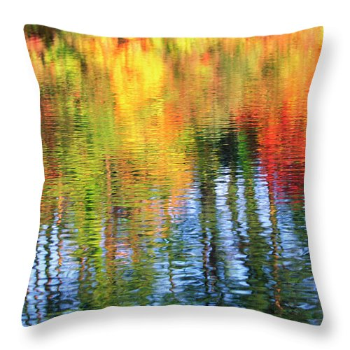 Outdoors Throw Pillow featuring the photograph Autumn Color Reflection by Ooyoo