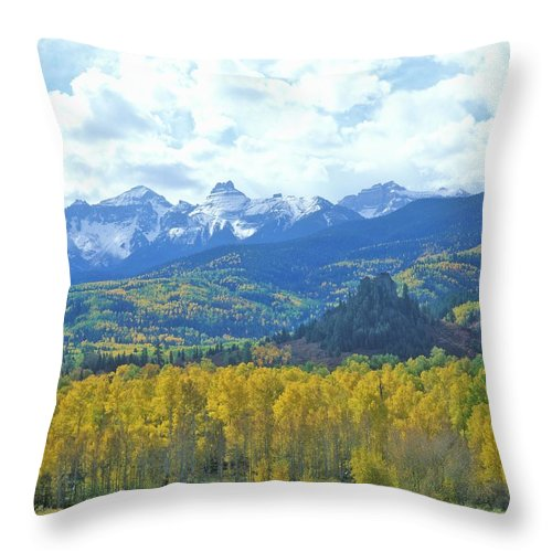 Scenics Throw Pillow featuring the photograph Autumn Colors In The Sneffels Mountain by Visionsofamerica/joe Sohm
