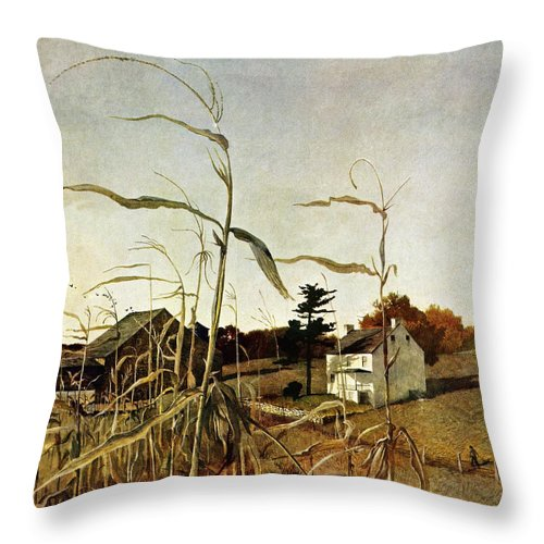 Autumn Throw Pillow featuring the drawing Autumn Cornfield by Andrew Wyeth