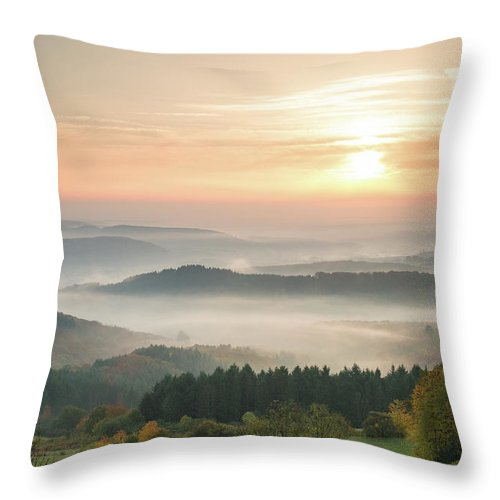 Scenics Throw Pillow featuring the photograph Autumn Foggy Sunrise by Marcoschmidt.net