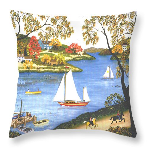 Contemporary Fine Art Landscape Throw Pillow featuring the painting Autumn Holiday by Linda Mears