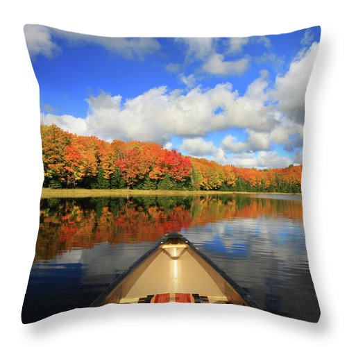 Scenics Throw Pillow featuring the photograph Autumn In A Canoe by Photos By Michael Crowley