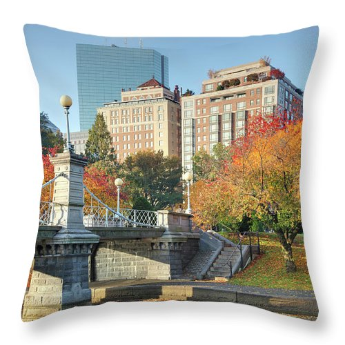 Downtown District Throw Pillow featuring the photograph Autumn In Boston by Denistangneyjr