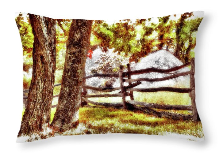 North Carolina Throw Pillow featuring the painting Autumn In Doughton Ap by Dan Carmichael