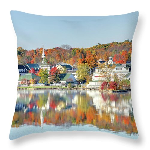 Scenics Throw Pillow featuring the photograph Autumn On Lake Winnipesaukee by Denistangneyjr