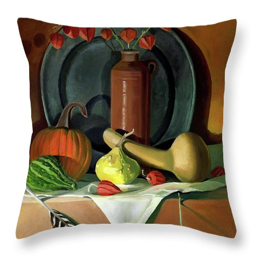 Still Life Throw Pillow featuring the painting Autumn Still Life by Nancy Griswold