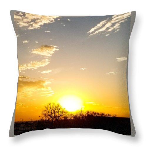 Sun Rise Throw Pillow featuring the photograph Autumn Sun Rising Over Barren Trees by Daniella Edington