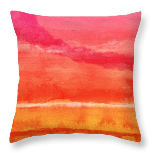 Abstract Throw Pillow featuring the painting Awakened 5 - Art by Linda Woods by Linda Woods