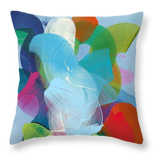 Abstract Throw Pillow featuring the painting Away A While by Claire Desjardins