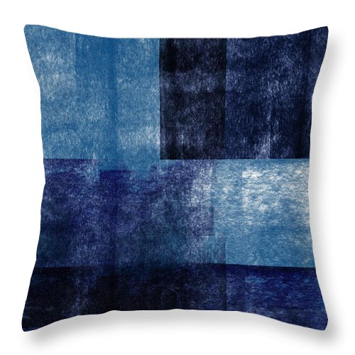 Abstract Throw Pillow featuring the mixed media Azul Blocks 1- Art by Linda Woods by Linda Woods