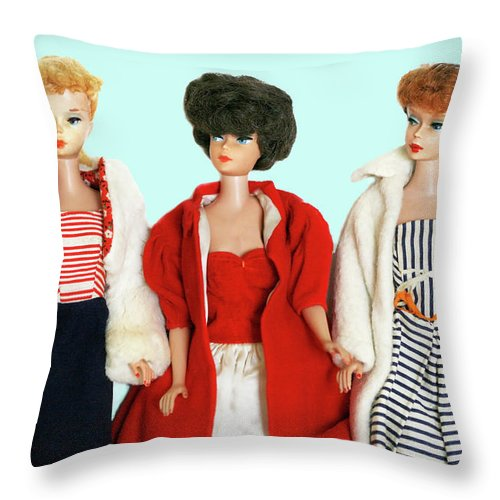 Vintage Throw Pillow featuring the photograph Baby It's Cold Outside Barbies by Marilyn Hunt