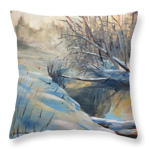 Throw Pillow featuring the painting Baby it's Cold Outside by Jay Johnson