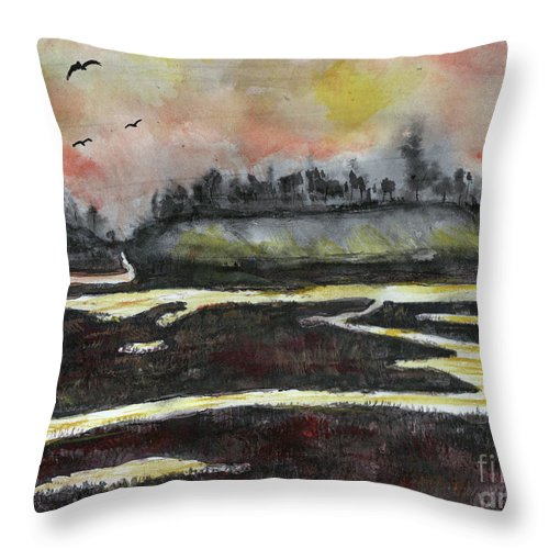 Bay Throw Pillow featuring the painting Back Bay After Sunset by Randy Sprout