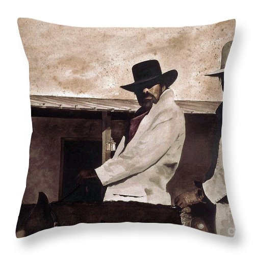 Two Questionable Cowboys Ride In To Town. Throw Pillow featuring the painting Bad News by Monte Toon