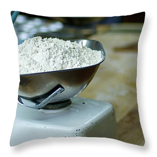 Bakery Throw Pillow featuring the photograph Bakery Scales by Charlie Ingham