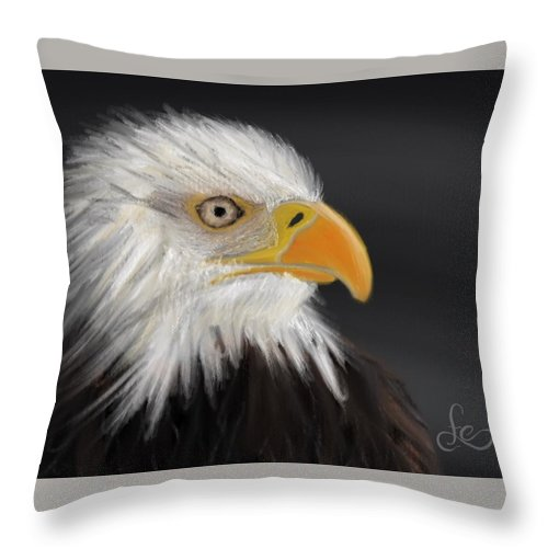 Bald Eagle Throw Pillow featuring the pastel Bald Eagle by Fe Jones