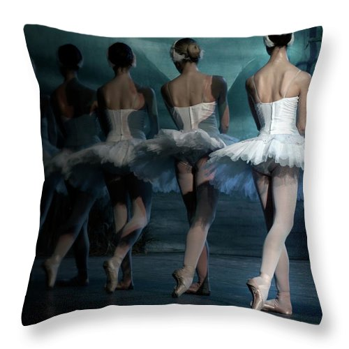 Expertise Throw Pillow featuring the photograph Ballerinas by Tunart