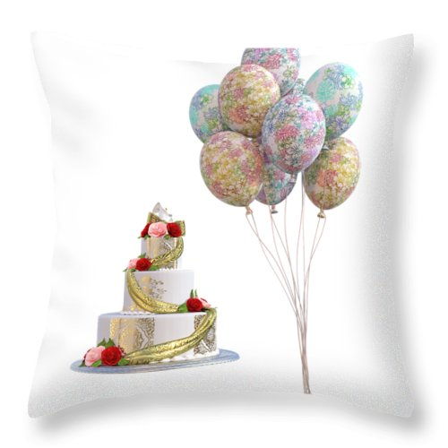 Wedding Throw Pillow featuring the digital art Balloons And Cake by Betsy Knapp