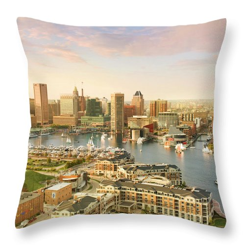 Sailboat Throw Pillow featuring the photograph Baltimore Skyline And Inner Harbor With by Greg Pease