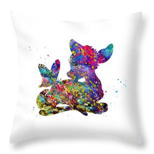 Little Bambi With A Butterfly Throw Pillow featuring the digital art Bambi by Erzebet S