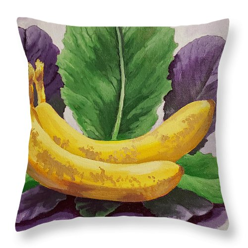 Banana's Throw Pillow featuring the painting Banana's And Lettuce by Jennifer McDuffie