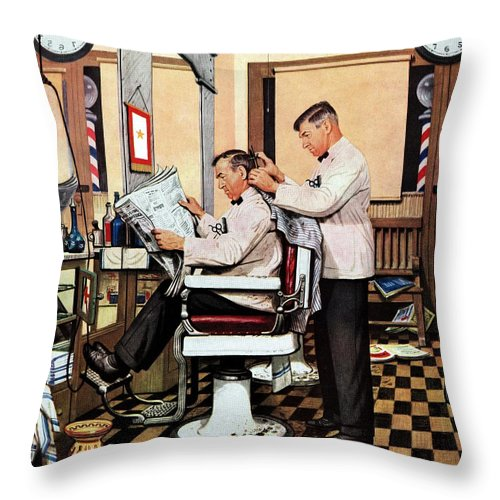 Barbers Throw Pillow featuring the drawing Barber Getting Haircut by Stevan Dohanos