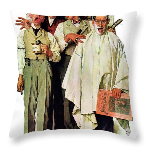 Barbers Throw Pillow featuring the drawing Barbershop Quartet by Norman Rockwell