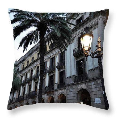 Outdoors Throw Pillow featuring the photograph Barcelona, Placa Reial by Stefano Salvetti