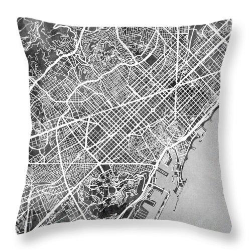 Barcelona Throw Pillow featuring the digital art Barcelona Spain City Map by Michael Tompsett