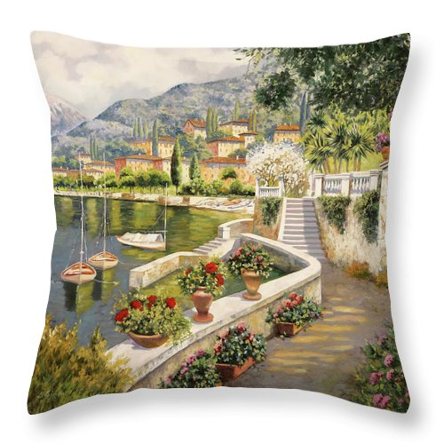 Lake Como Throw Pillow featuring the painting barche a Bellagio by Guido Borelli