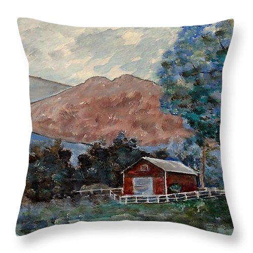Meadows Throw Pillow featuring the painting Barn by Nana Gale Van