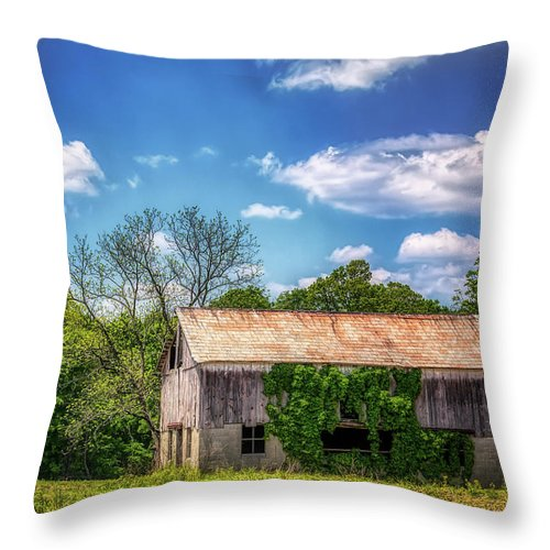 Architecture Throw Pillow featuring the photograph Barn With Ivy by Tom Mc Nemar