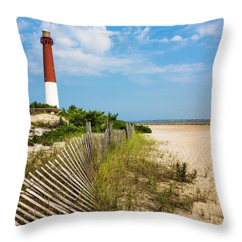 Water's Edge Throw Pillow featuring the photograph Barnegat Lighthouse, Sand, Beach, Dune by Dszc