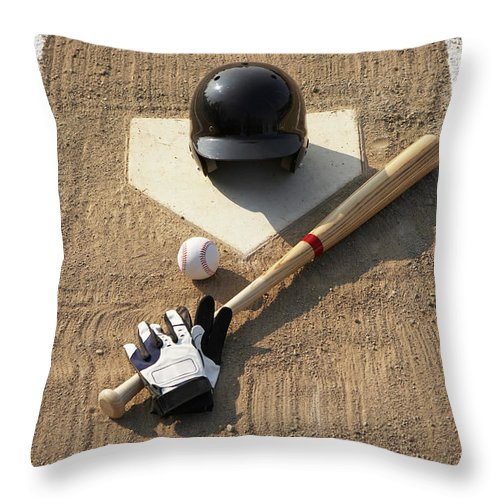 Shadow Throw Pillow featuring the photograph Baseball, Bat, Batting Gloves And by Thomas Northcut