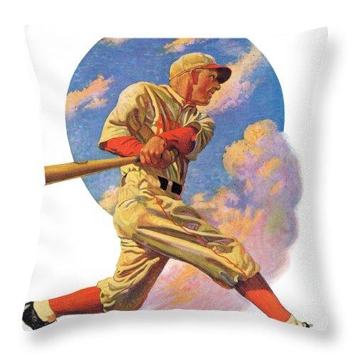 Baseball Throw Pillow featuring the drawing Baseball Batter by J.f. Kernan