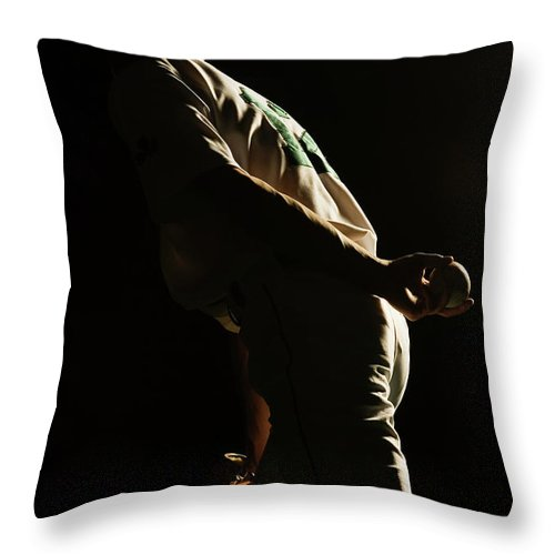 Three Quarter Length Throw Pillow featuring the photograph Baseball Pitcher Holding Ball Behind by Pm Images