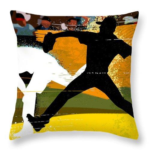 Baseball Cap Throw Pillow featuring the digital art Baseball Pitcher Throwing Baseball by Greg Paprocki